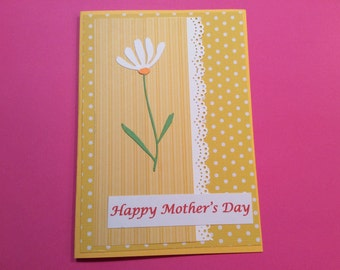 Handmade, Mother's Day Card, Yellow, Polka Dots, Flower, Tulips, Lacey Border