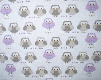 OWL cotton Fabric white pale purple brown Owls Cotton Fabric Kids Fabric Europe Design Kids Textile