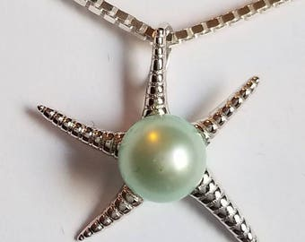 Sterling Silver Starfish Pendant with a Mint Pearl