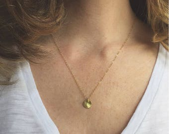 Small Gold Disc Necklace Gold Coin Necklace Gift For Mom Gold Charm Necklace Layering Necklace Mothers Day Gift Minimalist Necklace Mom Gift