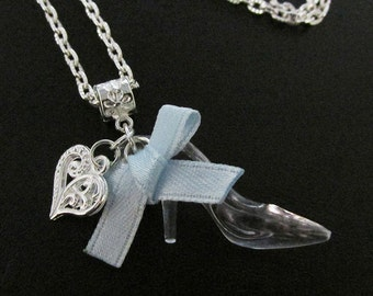 Cinderella Glass Slipper Shoe Chain Necklace 50cm with Pretty Bow & Heart