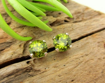 Arizona Peridot Screw Back Studs, Platinum or 14k Gold Screw Back Earrings with Arizona Peridot, White Gold or Yellow Gold Screwbacks