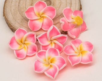 Pink  Flower Beads, 10pcs, 20mm, Polymer Clay Beads, Fimo  Flowers -B2043