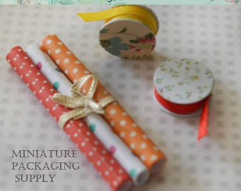 Miniature Packaging supply, ribbons and designer paper roll, 3 pieces set