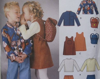 Simplicity 5284 -- Child's Pants, Jacket, Jumper, Knit Top and Back-Pack pattern in sizes 3-8. Pattern is uncut & factory folded.