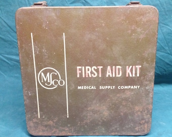 Vintage MS Co Medical Supply Kit First Aid Kit w/Original Products - Metal Shabby Chic Metal Box