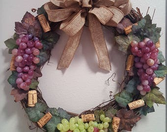"""Grapevine Wreath, 18"""" with Grapes, Wine Corks, Great for Wine Lovers, House Warming Gift"""