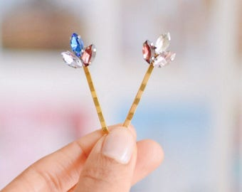 Multi coloured rhinesone hair grips in a set of two  |    Perfect occassion hair accessories | guct for her