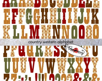 Country Western Alphabet: Clip Art Pack (300 dpi) Digital Images (transparent png) Card Making Digital Scrapbook Letters Numbers