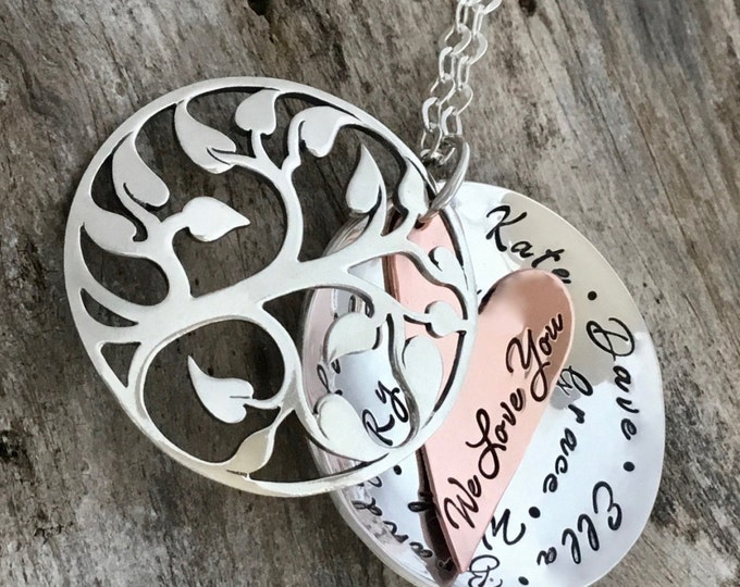 Grandma Necklace | Family Tree Necklace For Grandmother | Grandma Necklace | Black Friday | Christmas Gift For Grandmother