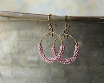 Lavender Wired Antiqued Brass Hoop Earrings