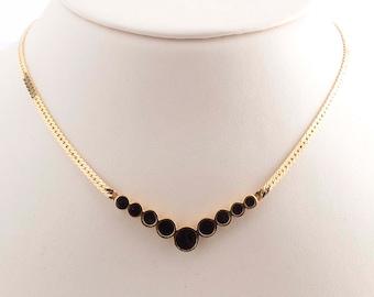 Monet Gold Plated Black Enamel Necklace