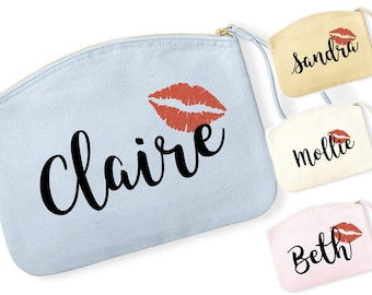 Personalised Name Make Up Bag Cosmetic Bag Lips Kiss Birthday Gift WM820 Bridal Party Wife Gift For Her