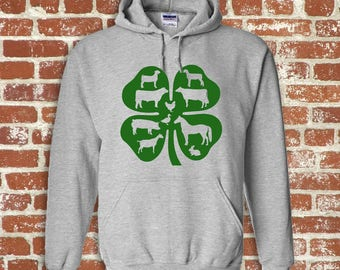 4H Livestock Themed Adult Hooded Sweatshirt