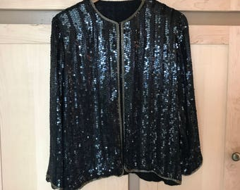 Black Sequin Jacket- Beaded Jacket- Sequined Clothing- Sequin Clothing- Glam Rock- Vintage Sequins- Sequin Coat- XS SMALL Medium