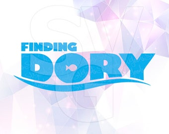 Finding Dory Logo Layered SVG DXF Png Cut File Disney Cartoon Party Decorations Cricut Designs Silhouette Cameo Stencil Scrapbooking Iron on