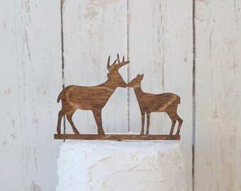 Kissing Buck and Doe Wedding Cake Topper Rustic Wedding Cake Topper Wood Cake Topper #DownInTheBoondocks