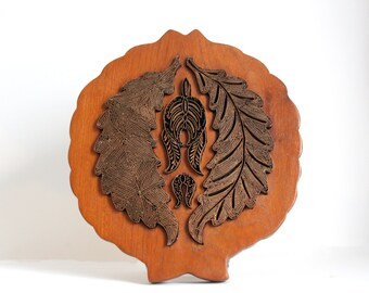 Vintage Heavy Wooden Copper Wall Hanging Art