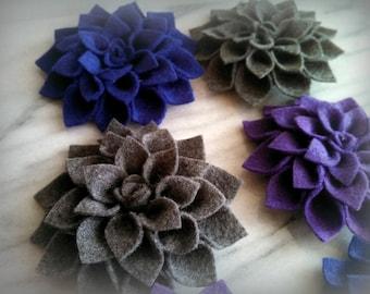Felt Dahlia brooch pins - made to order - choose 2 colors