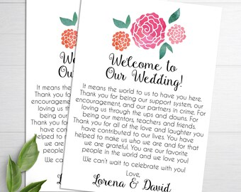 Wedding Welcome Letters, Destination Wedding, Wedding Welcome Bag, Wedding Itinerary, Wedding Welcome Note, Welcome Bag Card, Thank You Card