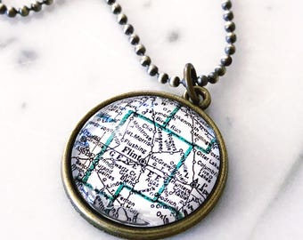 Flint Michigan Map Necklace