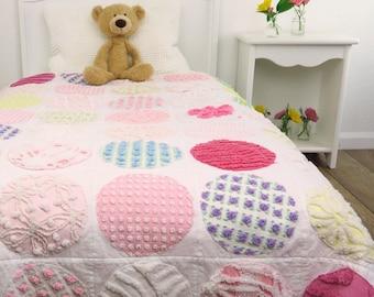 Modern Handmade Vintage Chenille Baby Quilt