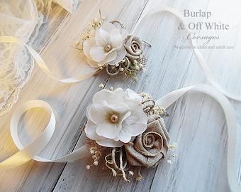 Burlap & Off White ~ Wedding Bridal Wrist Corsage. Child or Adult Size.