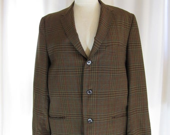 1960's Brown and Black Plaid Cotton Sport Jacket, Medium, Cotton, Plaid, Black, Brown, Blue, Red, Sport Jacket, Blazer, 60's, 50's, 1950's