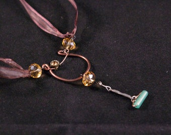 Copper Lyre with Bead Drops on Double-Strand Silk Brown Ribbon