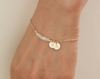 Rainbow Moonstone Bracelet. Initials Disc Rose Gold Bracelet. June Birthstone. Moonstone Bead Bracelet. Mom,Sister,Wife,Bridesmaid Gift.