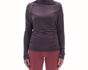 Brown Twisted Top/ Yoga Clothes/ Arya Yoga Top/ Women Clothing/ Minimalist Twisted Top /Yoga Wear /Long Sleeved Casually Blouse by AryaSense