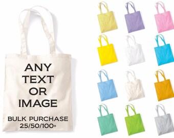 Bulk Personalised Custom Printed Tote Bag For Life Shopper Grocery Shopping Bags Multiples Joblot Wholesale