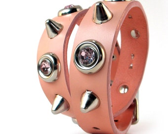 Pastel Pink Leather Dog Collar with Giant Rhinestones and Gentle Spikes, Size M/L, to fit a 15-18in Neck, Eco Friendly, Tough Girl Dog, OOAK