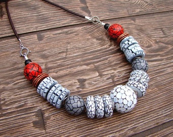 Necklace Past and Future Stylish jewelry White, red and gray Leather cord
