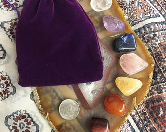 Chakra Crystals/ 7 Chakra Stone Set/ Tumbled Crystals with Pouch/ Healing Crystals/ Protection Stone/ Meditation Stones, Reiki CY125