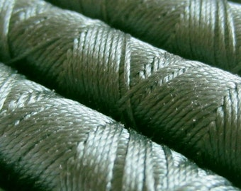 SILKA natural silk embroidery thread, spool of 32 ft (10m), GREEN 759