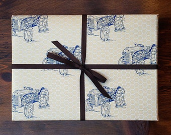 Antique Tractor Pattern Gift Wrap / Set of 3 Sheets