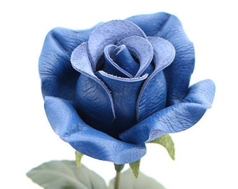 Leather rose long stem leather flower cobalt blue third anniversary wedding gift 3rd anniversary leather anniversary bouquet
