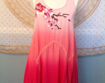 Upcycled on Umgee summer dress with pink rose Asian inspired embroidery