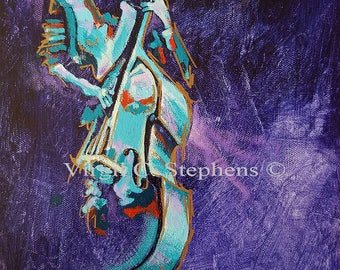 "Smooth Operator, 9"" x 12"" x 1 1/2"" original acrylic painting of  musical artwork, acoustic bass player, music artwork"