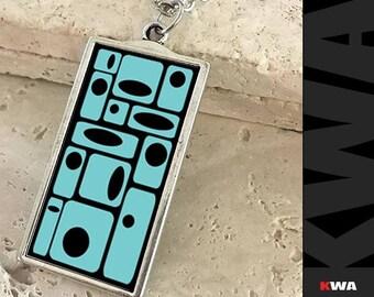 Retro Pendant. Printed Fashion Pendant. Atomic age design Necklace. Atomic Fashion Accessory. Modern Art Necklace. Mid-Century Style pendant