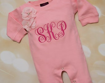 Personalized Pink Baby Girl Romper Set Embroidered Infant One Piece Set with Matching Headband