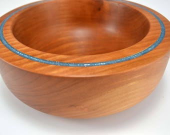 Cherry Wood Bowl with Blue Resin Inlay