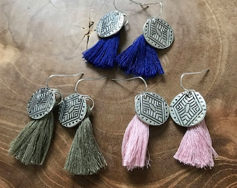 Aztec Tassel Earring - A Bohemian pair of dangling earrings with aztec pattern and cotton tassel. green, blue, pink, cobalt, army, boho