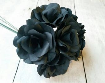 6 x Black Roses, Handmade Paper Flowers, Table Decorations, Wedding Flowers, Anniversary Gift x 6 Flowers