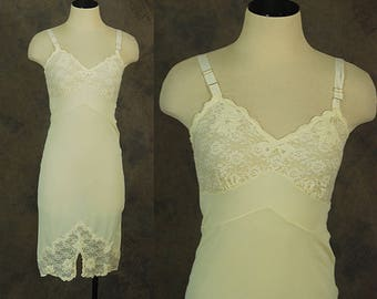vintage 60s Slip - Lacy Pearl Studded Off White Full Slip Dress 1960s Lingerie Sz XS 32