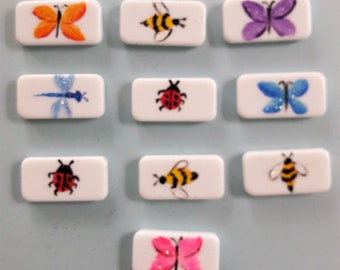 Assorted Bug, Butterfly, DragonFly, Bee Pins painted on dominos