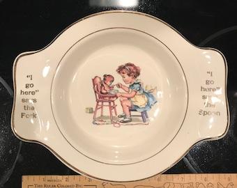 Child Feeding Stuffed Bear Plate