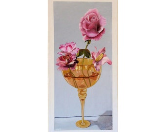 Floral Still Life Painting, Flower Painting, Painting of Roses in Acrylic, Painting of Flowers in Glass Goblet.