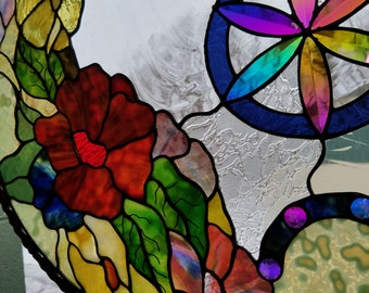 Dichroic Stained Glass Panel Disc Flowers Sacred Geometry